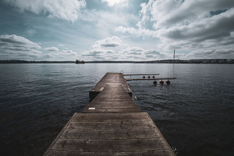 Picturesque wooden jetty with vignette