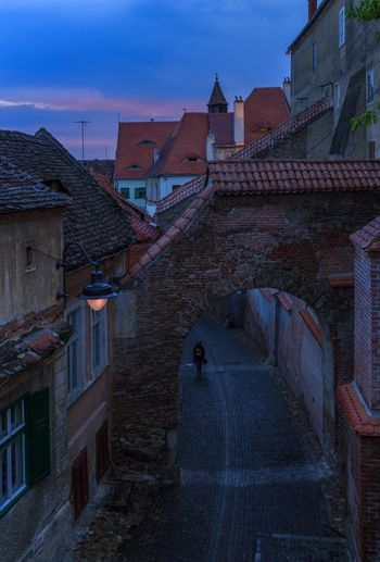 Old town Sibiu of Romania Architecture Building Exterior Built Structure Building City Travel Destinations Travel High Angle View Residential District History Sky Tourism No People Street Roof Town
