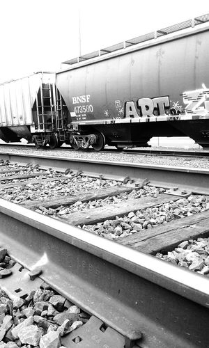 Graffiti, one of my favorite forms of art.❤📷 * * Railroad Track Freight Transportation Freight Train Graffiti Art No People Rail Transportation Love Photography Black And White Photography Quickpic