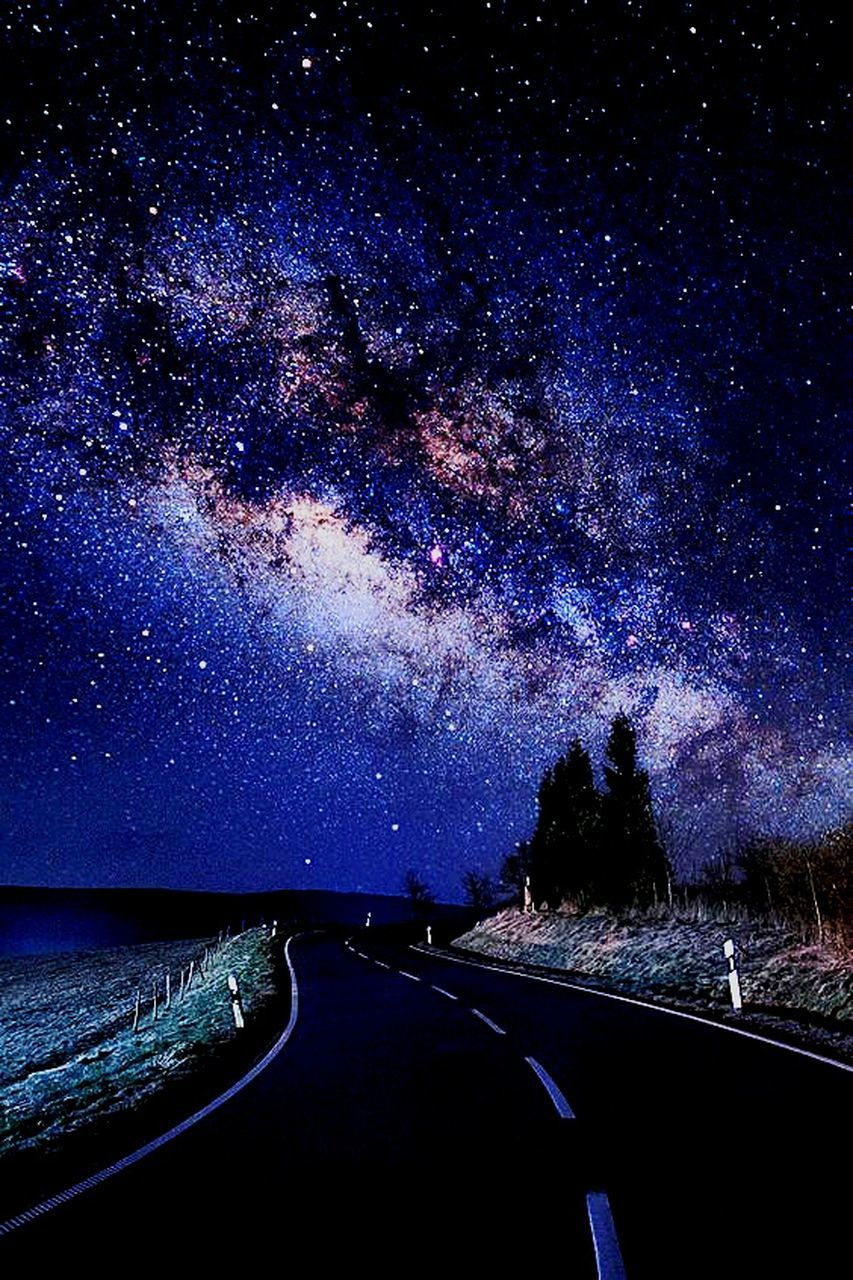 road, night, star - space, astronomy, milky way, the way forward, scenics, transportation, infinity, galaxy, sky, space, nature, constellation, no people, outdoors, beauty in nature