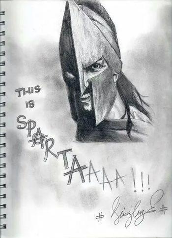 Drawing Karakalem 300 Leonidas