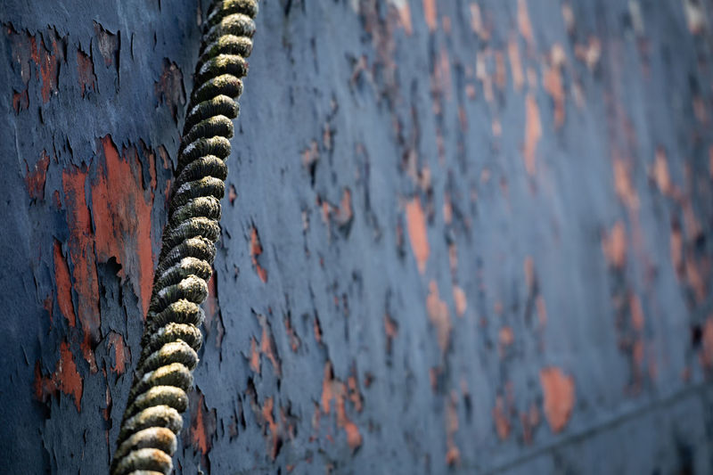 Close-up of dirty rope against weathered wall