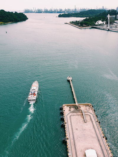 Aerial view of boat in canal