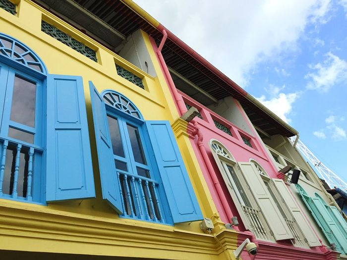 Singapore Colours Colourful House Houses Painted Painted Wall Painted Houses Yellow Pink Sky Architecture
