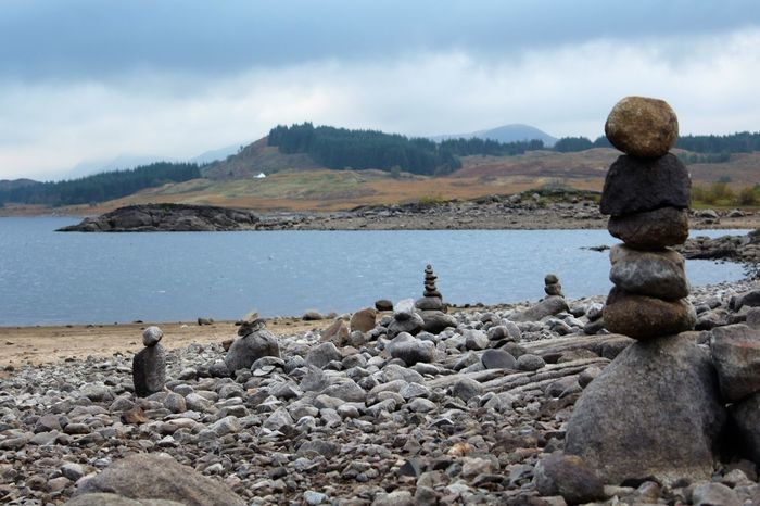 Beach Beauty In Nature Cloud - Sky Day Loch Doon Mountain Nature No People Outdoors Pebble Rock - Object Scenics Sea Sky Standing Stones Stone Piles Tranquil Scene Tranquility Water Breathing Space Breathing Space