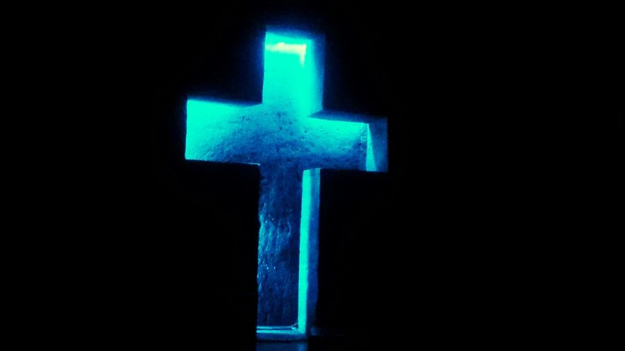 Colors Religion Tranquil Scene Blue Cross No People Illuminated Neon Close-up Outdoors Day .ZIPAQUIRA COLOMBIA CATEDRAL DE SA SAL