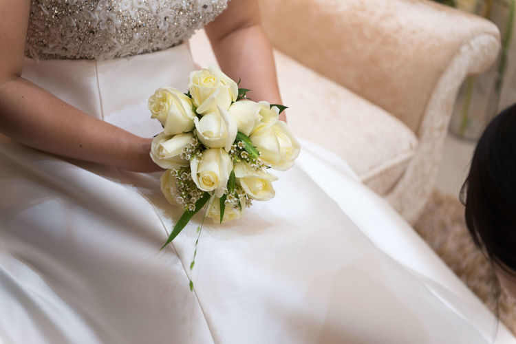 Flower Flowering Plant Wedding Women Newlywed Wedding Dress Bride Holding Adult Bouquet Flower Arrangement Plant Midsection One Person White Color Event Beauty In Nature Celebration Life Events Lifestyles Hand Flower Head Wedding Ceremony