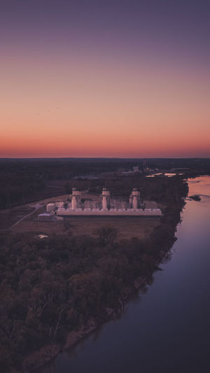 Power Plant Sky Water Sunset Nature Scenics - Nature Beauty In Nature Tranquility No People Reflection Tranquil Scene Orange Color Architecture Copy Space Clear Sky Sea Environment Outdoors Building Exterior Built Structure