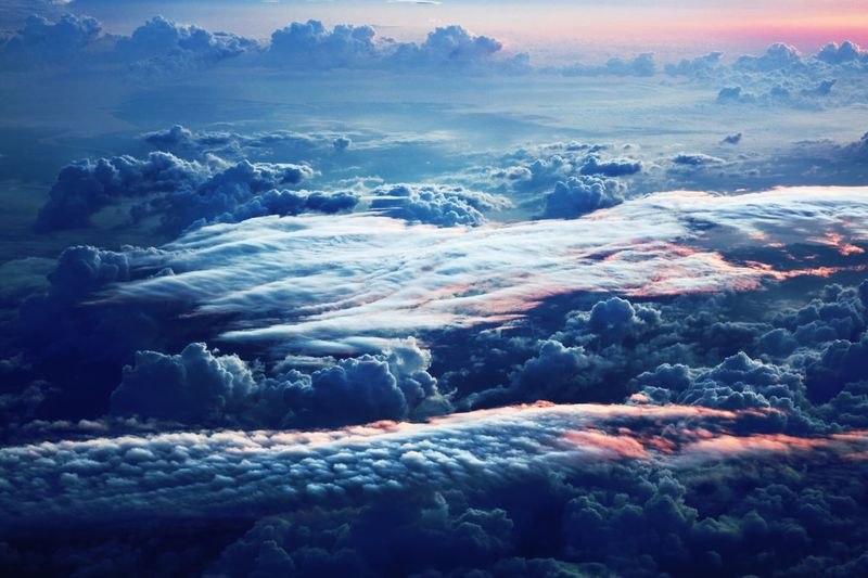 Aerial View Of Cloudscape Against Sky During Sunset