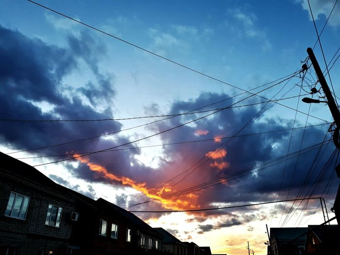 Cable Sky Sunset Cloud - Sky No People Mountain Outdoors Silhouette Nature Electricity  Blue Telephone Line Day Beauty In Nature Architecture Technology City Bird Vapor Trail
