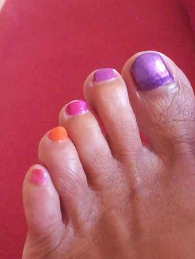 Millennial Pink Barefoot Be Different!!!😉 EyeEm Diversity Multi Colored Close-up Adult Personal Perspective Low Section Human Foot Human Body Part Colourup Your Life each toe with different nail polish Nail Art Naildesign Summerfeeling Summer Feet Purple Orange Lifestyle Life Art Part Of A Foot Red Background