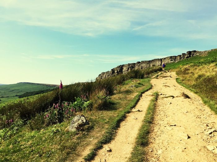 EyeEm Selects Adventure walks in the Peak District  Derbyshire Dales the route is life. Stanage Edge Footpath Path Pathway Countryside Rural Derbyshire Grass Landscape Nature Rock Dirt Road Dirt Path Sky And Clouds Hills Rolling Landscape English Countryside Nobody Summer Beauty In Nature Penines