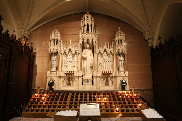 St. John the Baptist in St. Patrick's Cathedral Place Of Worship Religion Indoors  Architecture Belief Illuminated Spirituality Built Structure Building Candle Seat Lighting Equipment History The Past Travel Destinations Sculpture Altar Ornate Luxury