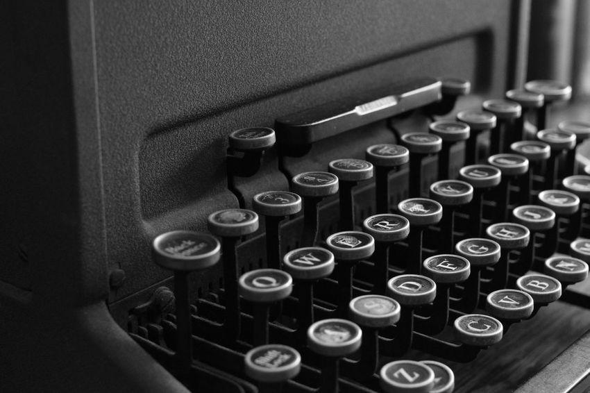 Antique Monochrome Blackandwhite Old Indoors  Typewriter Alphabet No People Close-up Keyboard Day