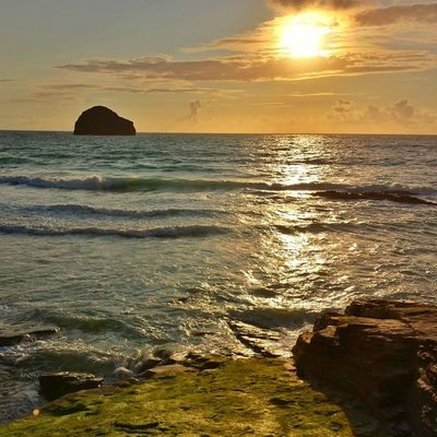 The Rock Cornwall Sea Sunset Beach Tre Bar With Strand