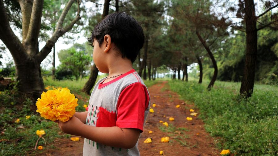 Boy standing by flower tree