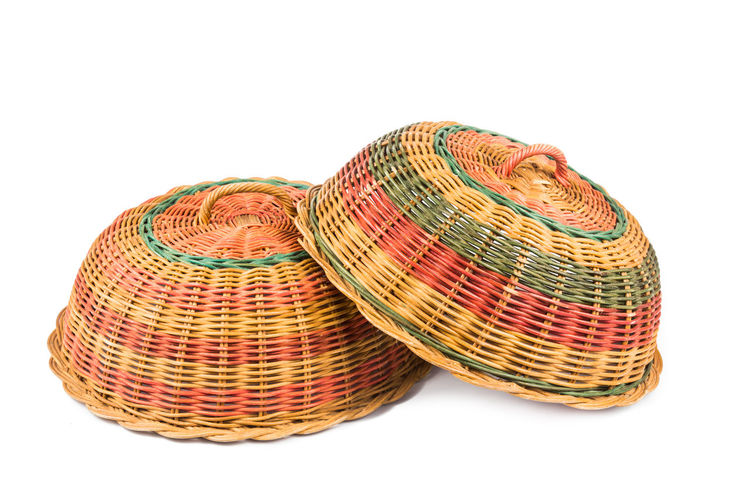 Traditional handmade rattan woven food cover from Malaysia Rattan Art And Craft Basket Close-up Cut Out Food Cover Handicraft Handmade Malaysia Still Life Studio Shot Traditional White Background Wicker