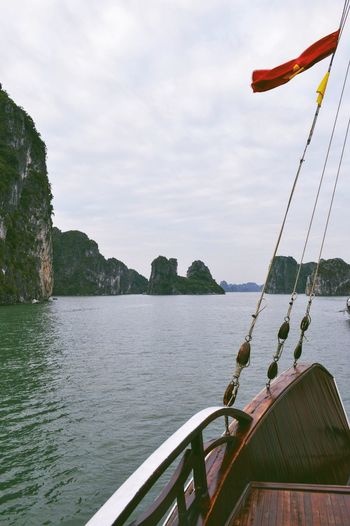Cropped Image Of Sailboat In Halong Bay Against Sky