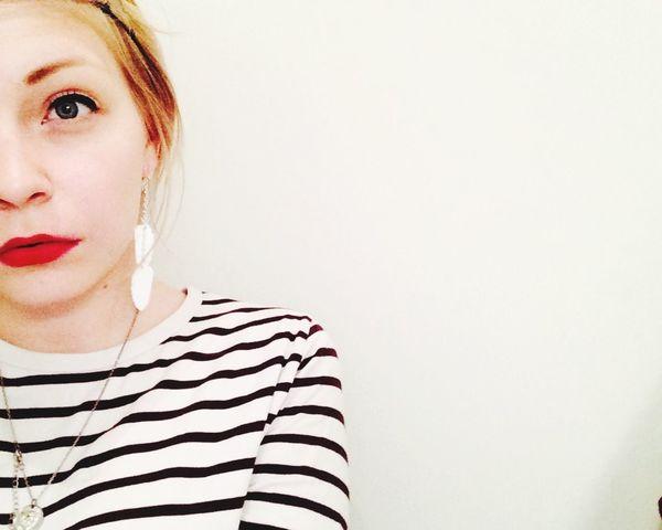 Pale Lipstick Red Lips Dazed Selfie Girl Stripes