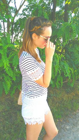 Girl Sunglasses Hairstyle Fashion Hair Clothes Stripes Green Photography Cute Style that's me in a lovely sunny day!