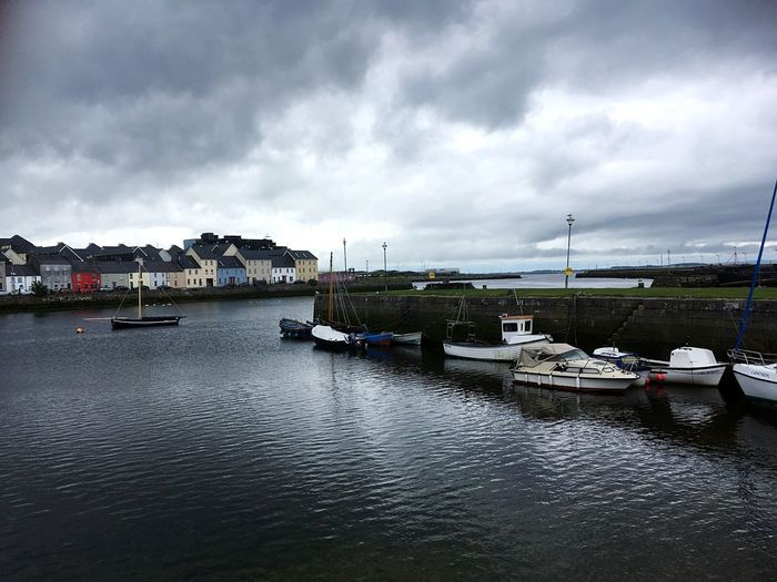 Galway The Wild Atlantic Way Timetorelax Ireland Transportation Water Cloud - Sky Mode Of Transportation Nautical Vessel Sky Moored Nature Harbor No People Building Exterior Architecture City Day River Built Structure Overcast Waterfront Outdoors