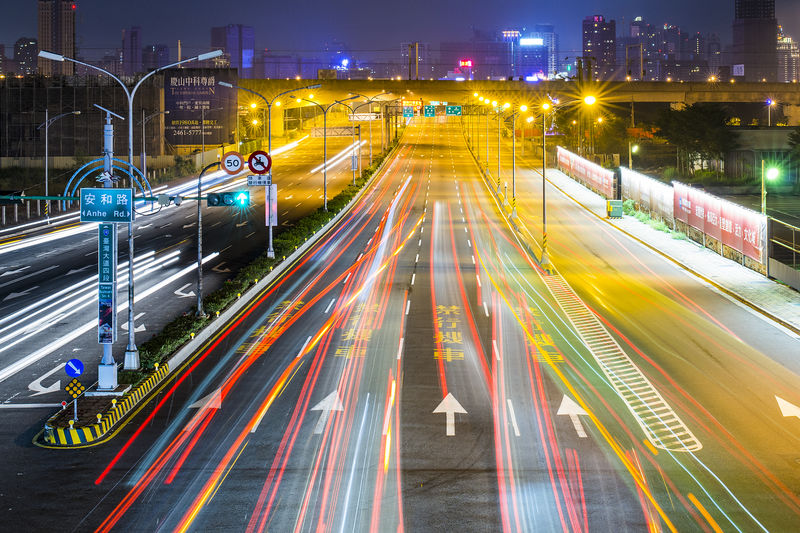 Traffic Architecture Blurred Motion Building Exterior Built Structure City City Life High Angle View High Street Illuminated Land Vehicle Light Trail Long Exposure Motion Night No People Outdoors Road Speed Street Traffic Traffic Lights Transportation