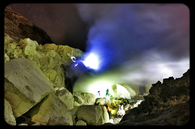 Be a world child, from a circle before we all go under and fade out Bluefire Kawah Ijen East Java-Indonesia