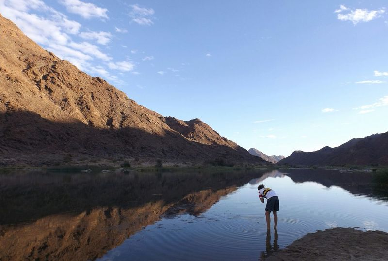 Reflection Water Mountain Nature Outdoors Landscape Beauty In Nature African Beauty Fresh Water Daytime Fujifilm Naturelove Naturelovers Nature Photography Africa Namibia Orange River African Beauty