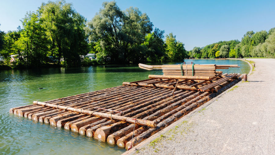 A raft on the isar river in munich