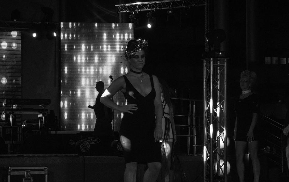 Dress Hair Show Hair Show By Dejan Lights Architecture Black And White Illuminated Indoors  Lifestyles Men Model Night Occupation People Real People Standing Three Quarter Length Two People Women