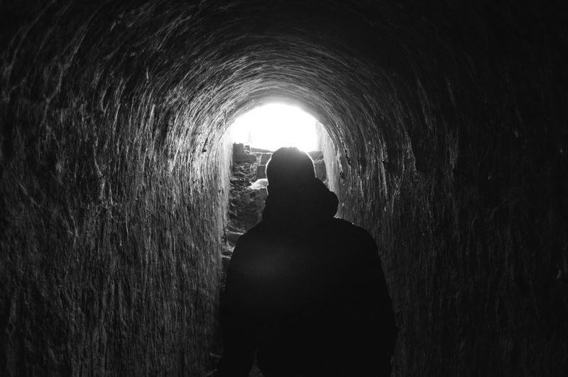 Black Bnw Catacombs Emerging Following Light Petrovaradin Petrovaradinfortress Scary Tunnel Underground Underground Passage