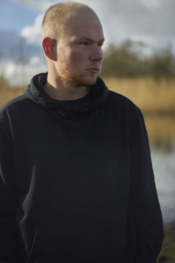 Man Nature Shaved Head Outside Red Beard Young Man