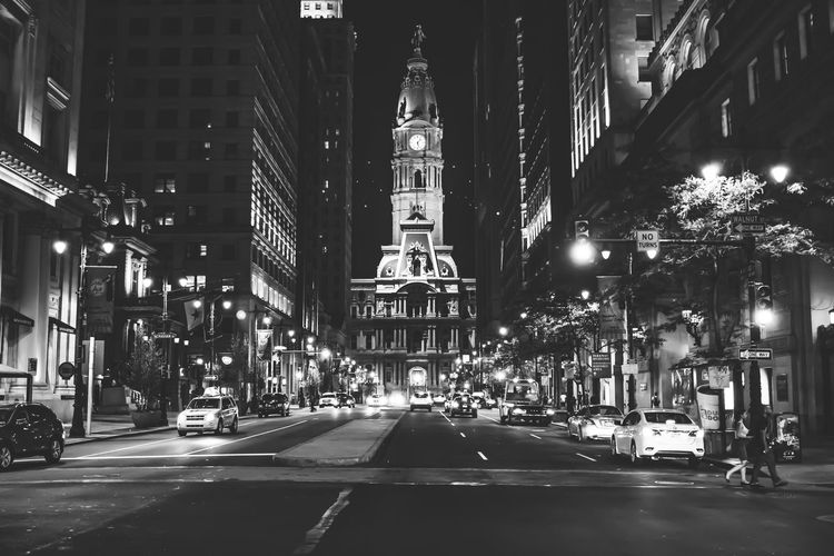 Philadelphia City Hall Architecture Black Velvet    Building Building Exterior Built Structure City City Life City Street Diminishing Perspective Illuminated Lighting Equipment Modern Night No People Outdoors Philadelphia Road Sky Street Street Light Street Photography The Way Forward Travel Destinations Vanishing Point City At Night