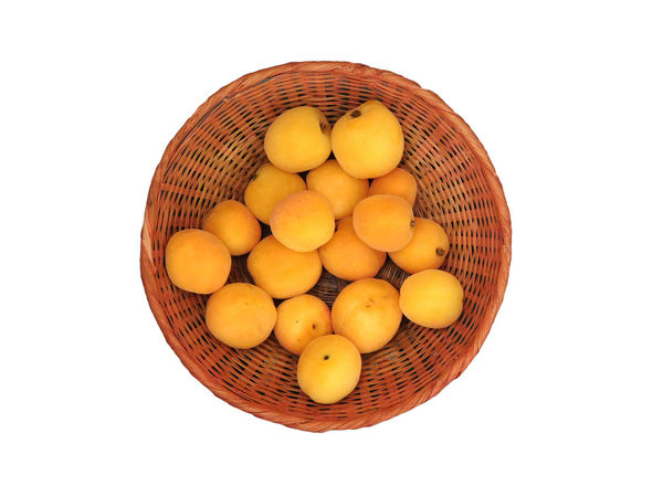 Apricots on white background Basket Close-up Cut Out Day Food Food And Drink Freshness Fruit Healthy Eating No People Raw Potato Studio Shot White Background