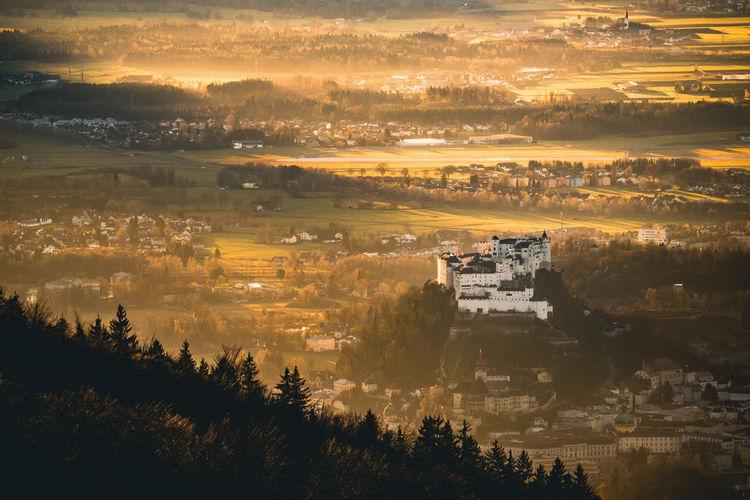 Fortress hohensalzburg in salzburg, austria captured in beautiful autumn light.