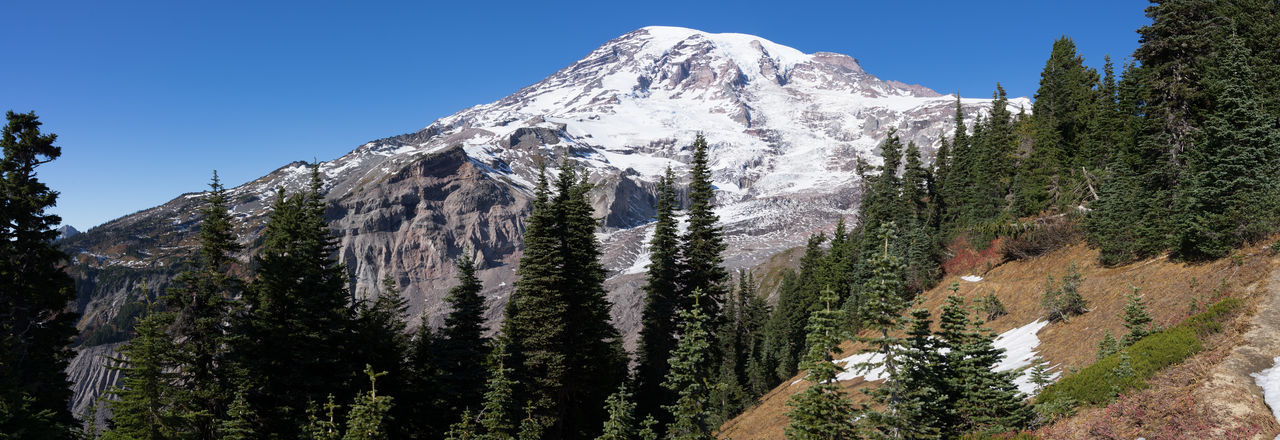Panoramic view of snowcapped mountain against clear blue sky