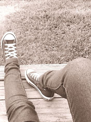 POV Living Living Life Converse Check This Out That's Me Porch Grass Sitting Enjoying Life Chilling Breathe On The Edge Jeans Outdoors Sepia