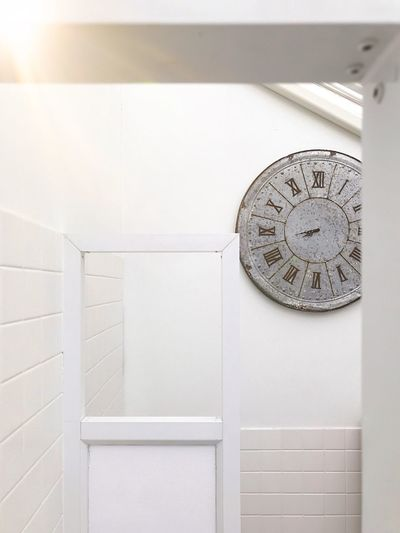 Time Clock No People Indoors  White Color Architecture Metal Wall - Building Feature Shape Day Closed Security