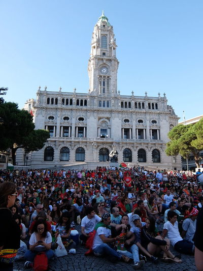 Euro 2016 Fooball Green & Red Porto Portugal Town Hall People Together