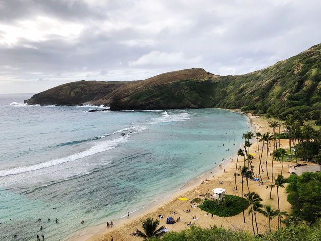 Beach life Hawaii Water Beach Sky Sea Land Cloud - Sky Beauty In Nature Nature Sand Tranquil Scene Tranquility Mountain Outdoors
