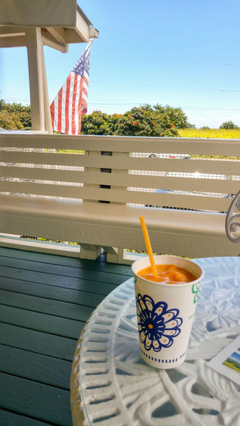 Close-up Day Drink Drinking Straw Flag Food And Drink Freshness Hawaii No People Outdoors Refreshment Shake Table Tree US Flag