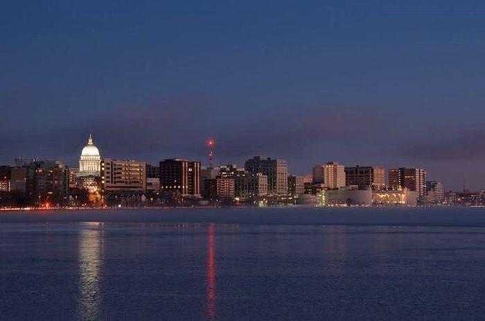 The Madison skyline at dawn. I love my city! Madisonwisconsin Wisconsin Skylines