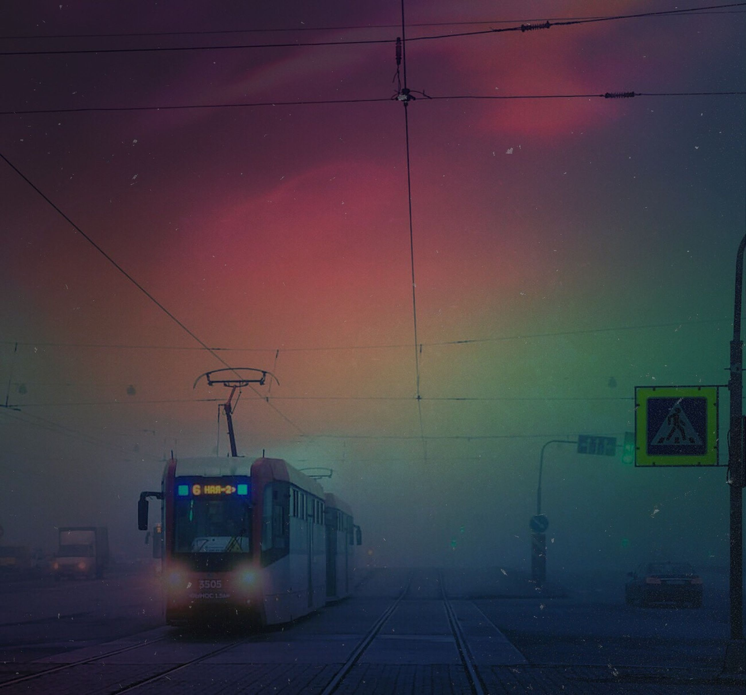 transportation, railroad track, night, rail transportation, public transportation, mode of transport, train - vehicle, illuminated, sky, cable, no people, nature, outdoors, electricity pylon
