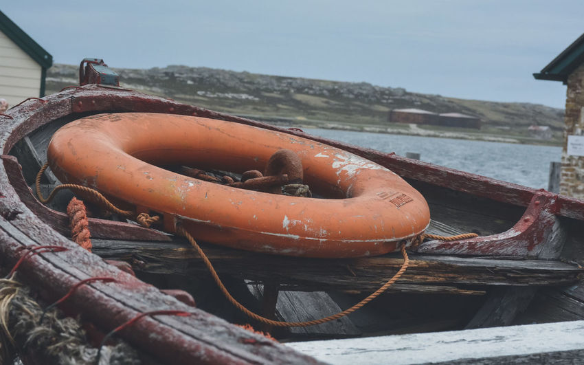 Close-up of rope on boat