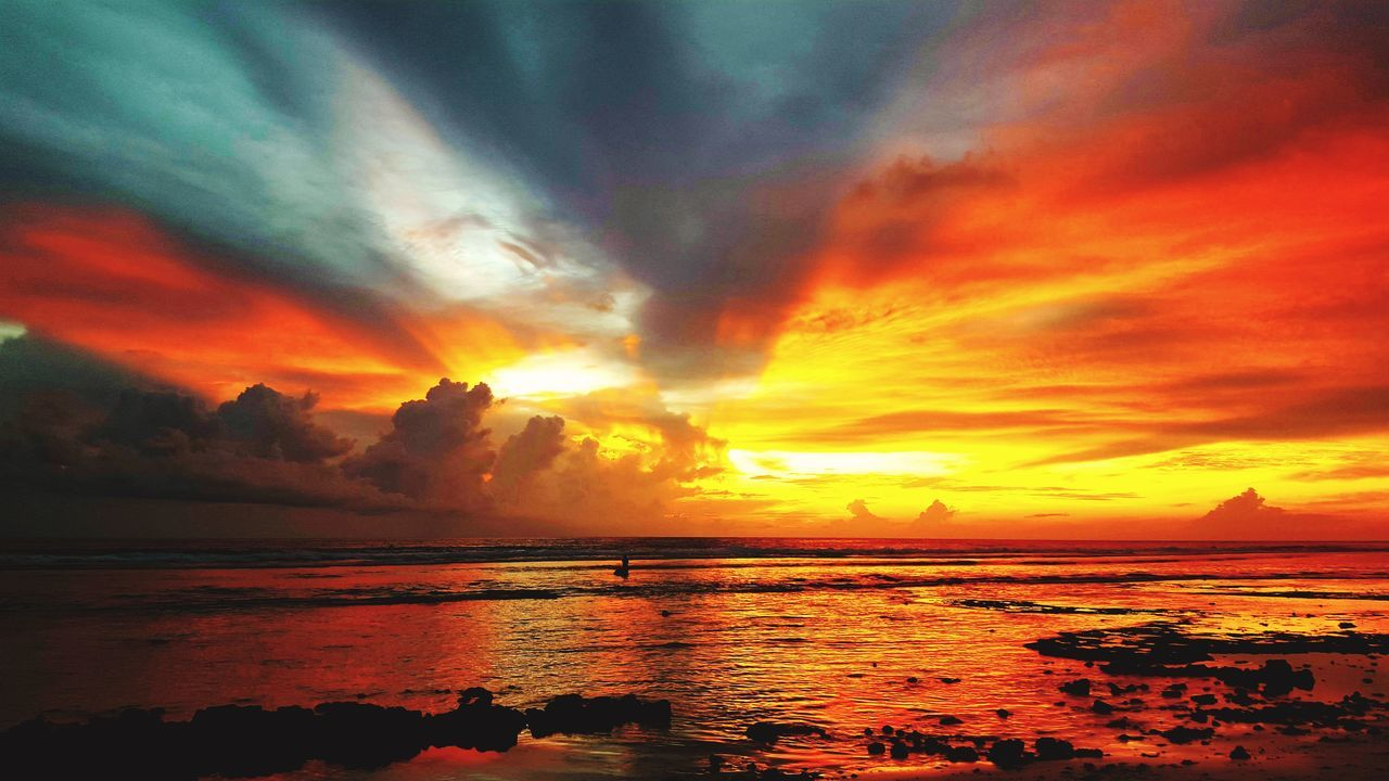 sunset, sea, beauty in nature, scenics, sky, dramatic sky, tranquility, tranquil scene, orange color, nature, water, cloud - sky, idyllic, horizon over water, silhouette, reflection, no people, sun, beach, outdoors