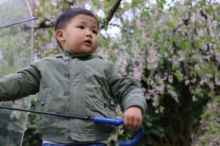 Cute boy with umbrella standing against tree