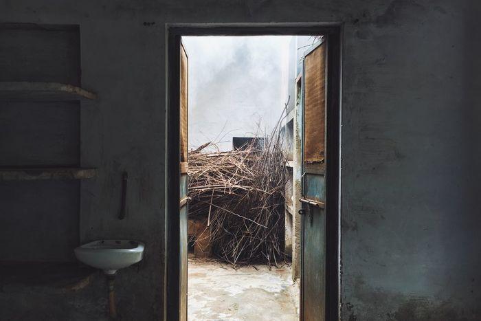 Architecture Built Structure Cloud Cloud - Sky Day Dirty Door Doorway Entrance Gravel Indoors  No People Open Ritual Sky Vrindavan Weathered Window Window Sill