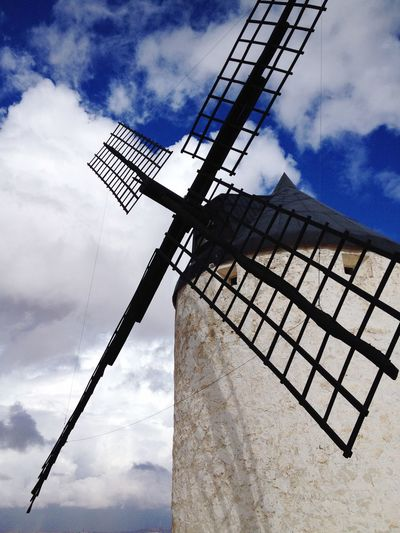 Windmill Sunny Day Blue Sky Clouds Consuegra SPAIN Don Quijote