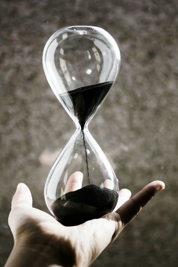 Time Time Is Running Out Hourglass Shadow Hand Portrait Shapes Black Sand Holding Glass Holding To The End Taking Photo Be Still Waiting