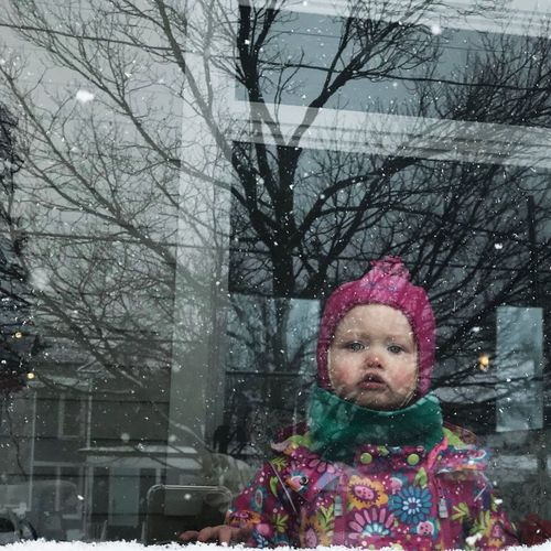 Portrait of a girl in snow